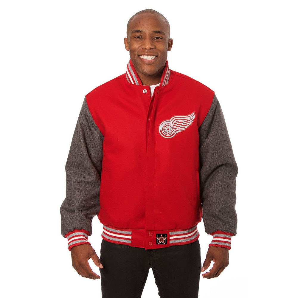 JH デザイン JH Design メンズ アウター ジャケット【Detroit Red Wings Adult Wool Jacket】Red/Grey