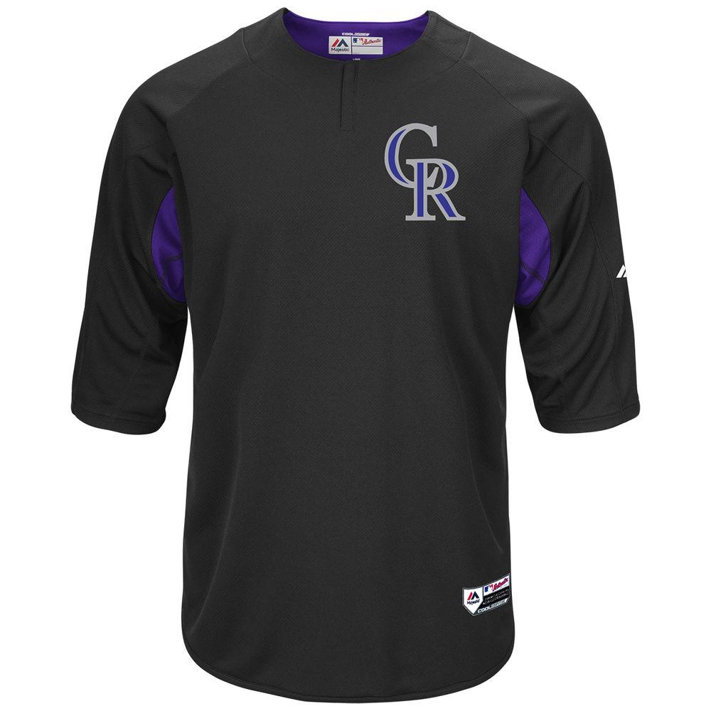 マジェスティック Majestic メンズ トップス【Colorado Rockies Adult Authentic Collection On-Field 3/4-Sleeve Batting Practice Jersey】Black
