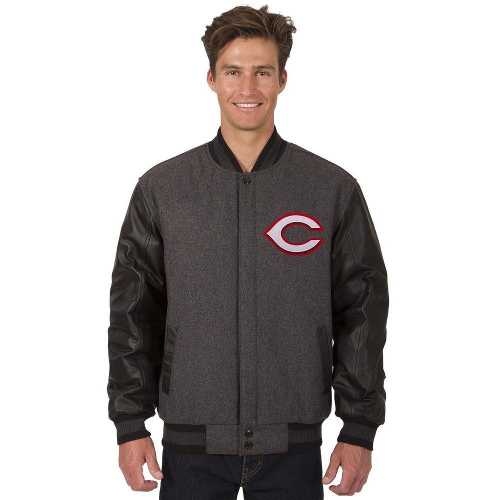 JH デザイン JH Design メンズ アウター レザージャケット【Cincinnati Reds Adult Wool and Leather Reversible Jacket】Grey/Black