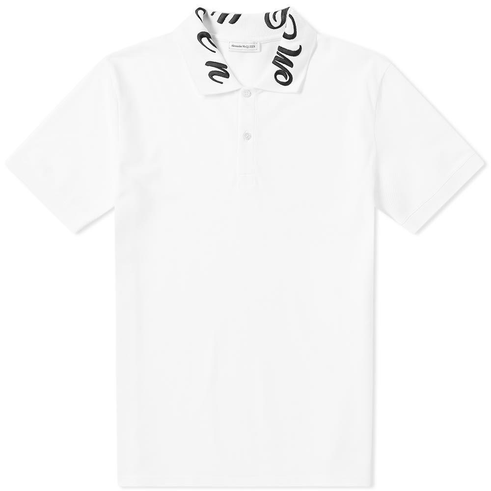 アレキサンダー マックイーン Alexander McQueen メンズ ポロシャツ トップス【gothic collar polo】White/Mix