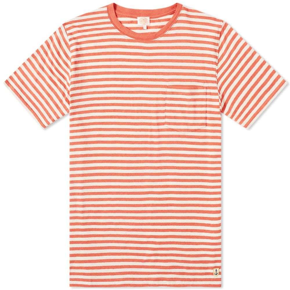 アルモーリュックス Armor-Lux メンズ トップス Tシャツ【76023 Stripe Pocket Tee】Orange/Natural