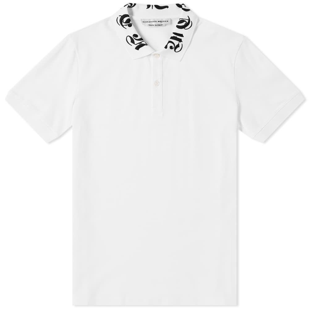 アレキサンダー マックイーン Alexander McQueen メンズ ポロシャツ トップス【gothic collar logo polo】White