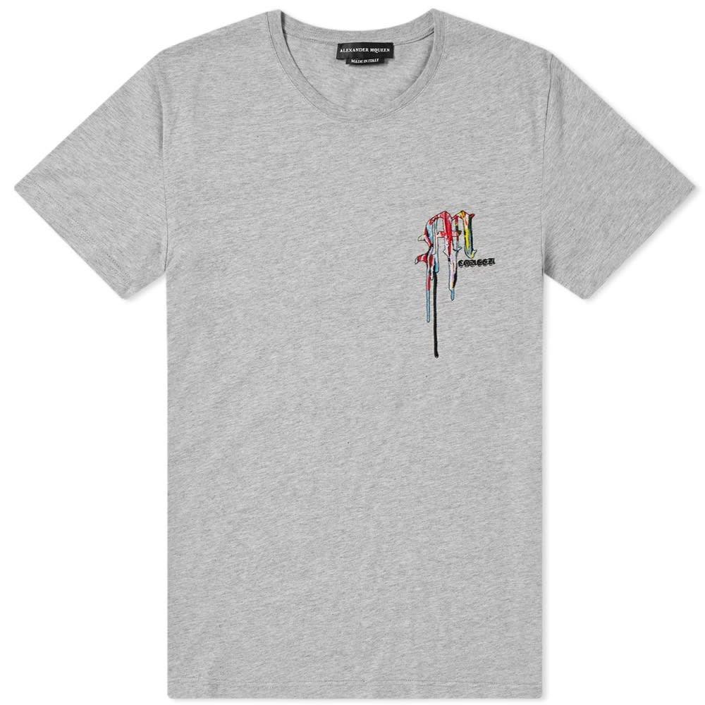 アレキサンダー マックイーン Alexander McQueen メンズ Tシャツ ロゴTシャツ トップス【multi coloured embroidered logo tee】Pale Grey/Mix