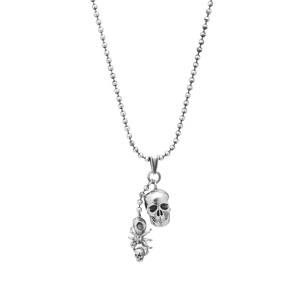 アレキサンダー マックイーン Alexander McQueen メンズ ネックレス ジュエリー・アクセサリー【skull and spider necklace】Silver
