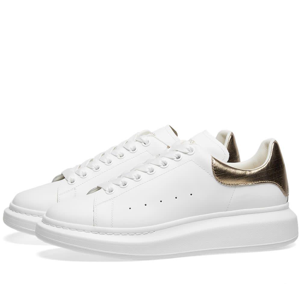 アレキサンダー マックイーン Alexander McQueen メンズ シューズ・靴 スニーカー【Metallic Heel Tab Wedge Sole Sneaker】White/Gold
