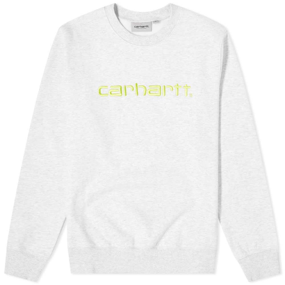 カーハート Carhartt WIP メンズ スウェット・トレーナー トップス【Logo Sweat】Ash Heather/Lime