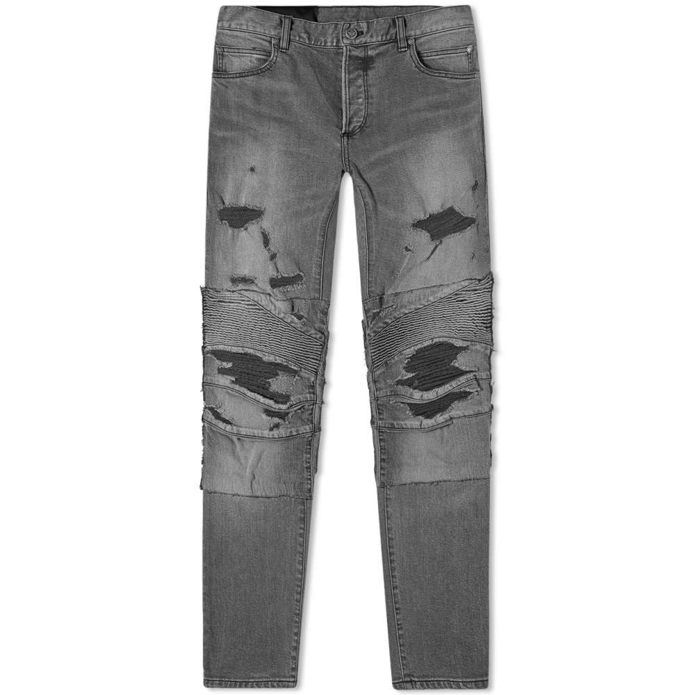 バルマン Balmain メンズ ジーンズ・デニム ボトムス・パンツ【Slim Distressed Biker Jean】Grey