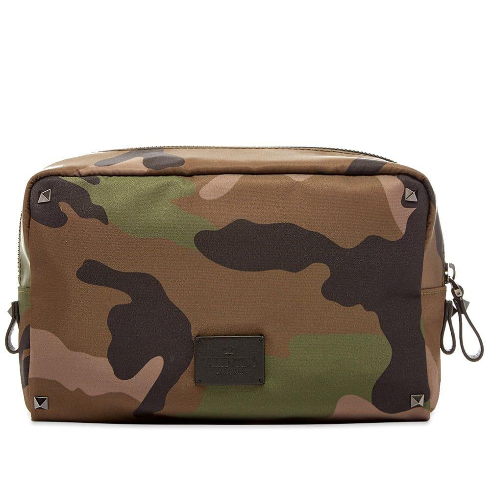 ヴァレンティノ Valentino メンズ ポーチ トラベルポーチ【Jacquard Camo Medium Wash Bag】Army Green