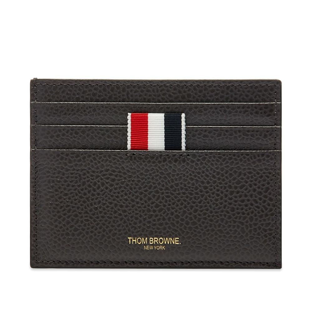 トム ブラウン Thom Browne メンズ カードケース・名刺入れ 【Pebble Grain Leather Four Bar Double Sided Cardholder】Charcoal