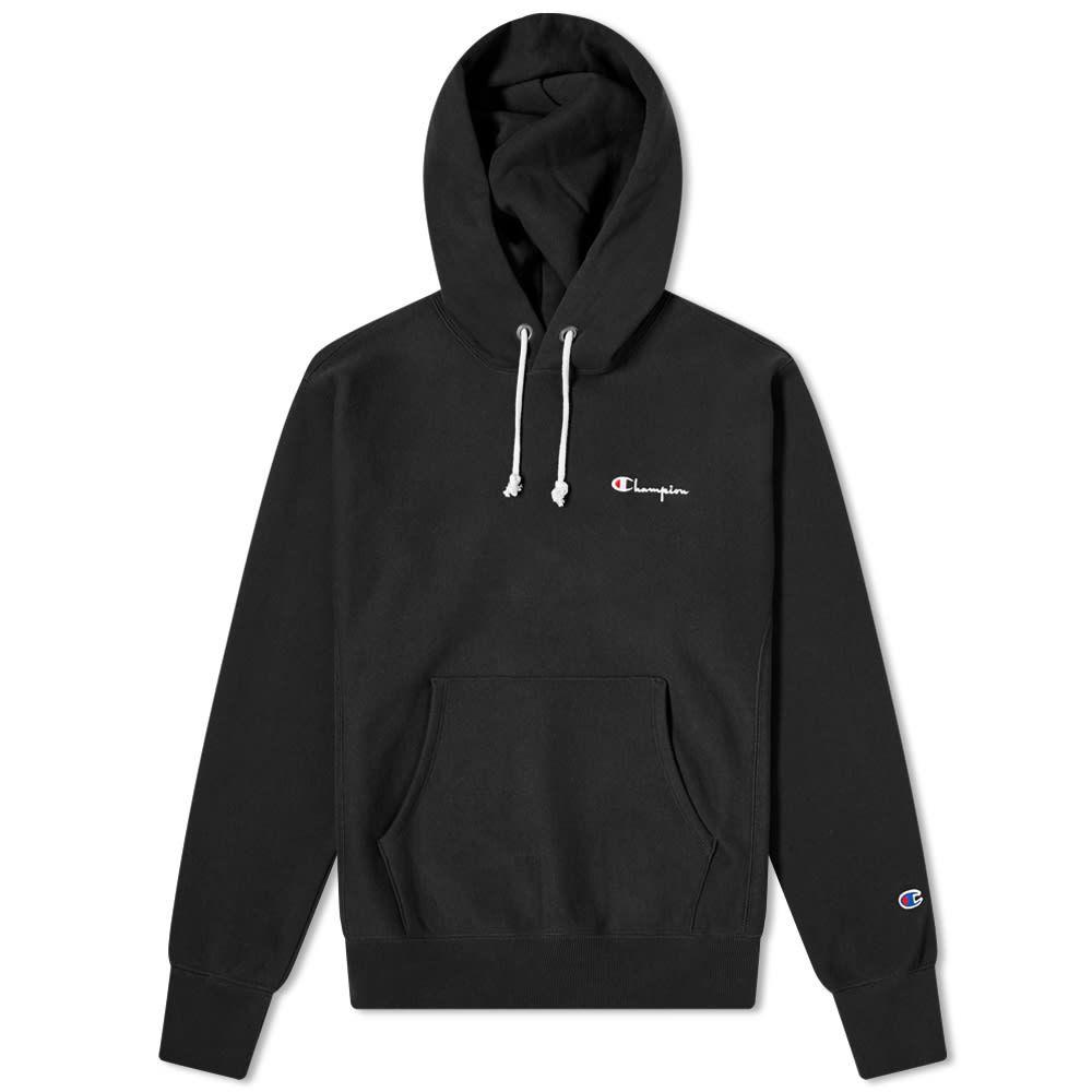 チャンピオン レディース セール特価 トップス パーカー Black サイズ交換無料 Champion Reverse Script Weave Logo Small Hoody 驚きの値段で