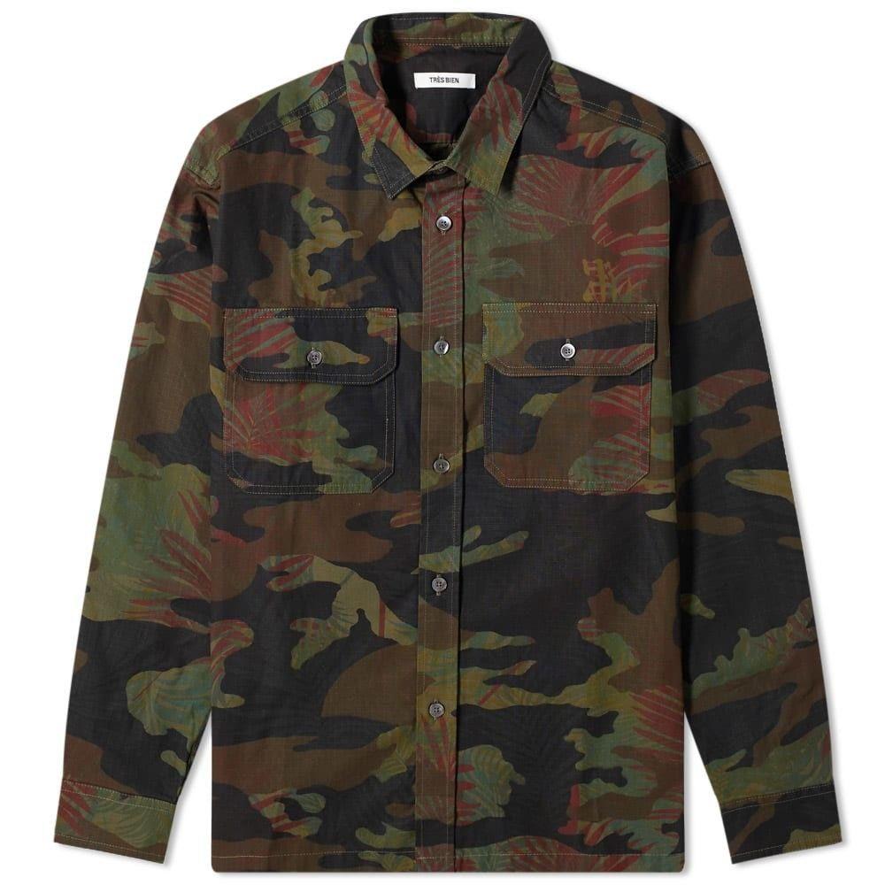 トレビアン Tres Bien メンズ ジャケット オーバーシャツ アウター【Box Overshirt】Floral Camo