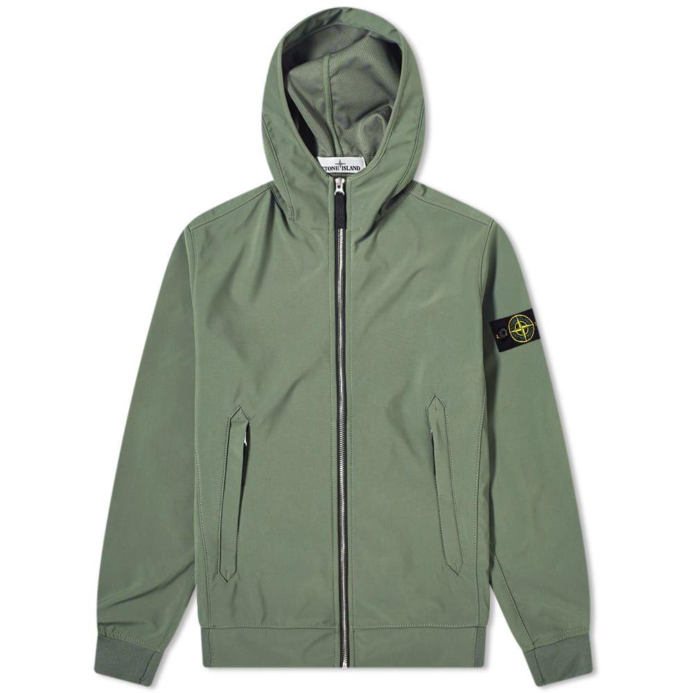 ストーンアイランド Stone Island メンズ ジャケット フード アウター【Lightweight Soft Shell-R Hooded Jacket】Olive