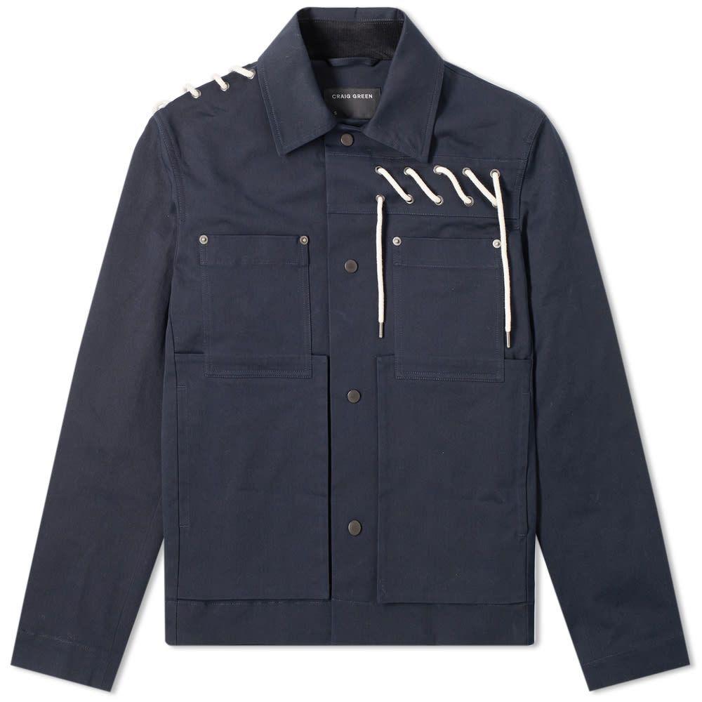 クレイググリーン Craig Green メンズ ジャケット ワークジャケット アウター【Laced Bonded Worker Jacket】Navy