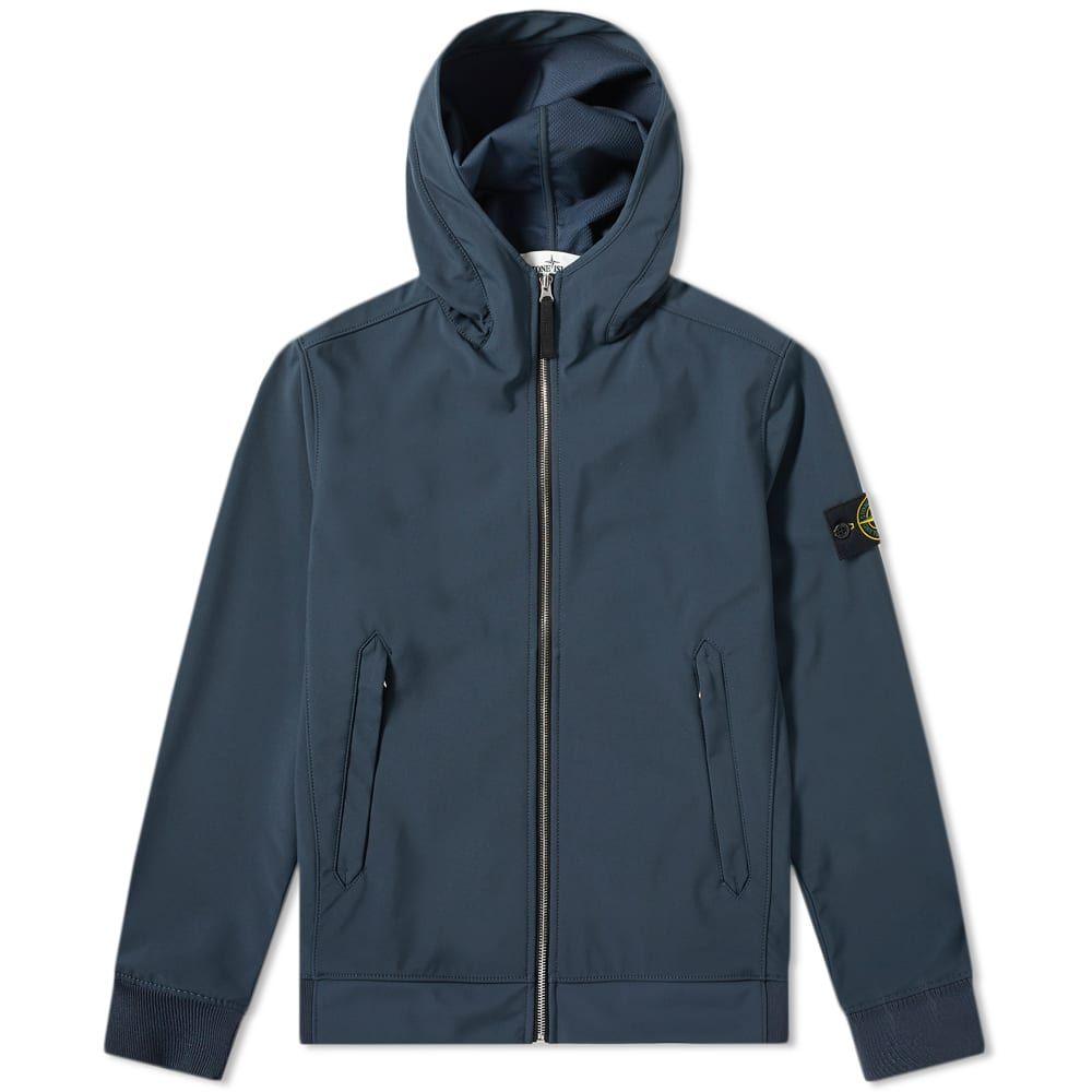 ストーンアイランド Stone Island メンズ ジャケット フード アウター【Lightweight Soft Shell-R Hooded Jacket】Blue Marine
