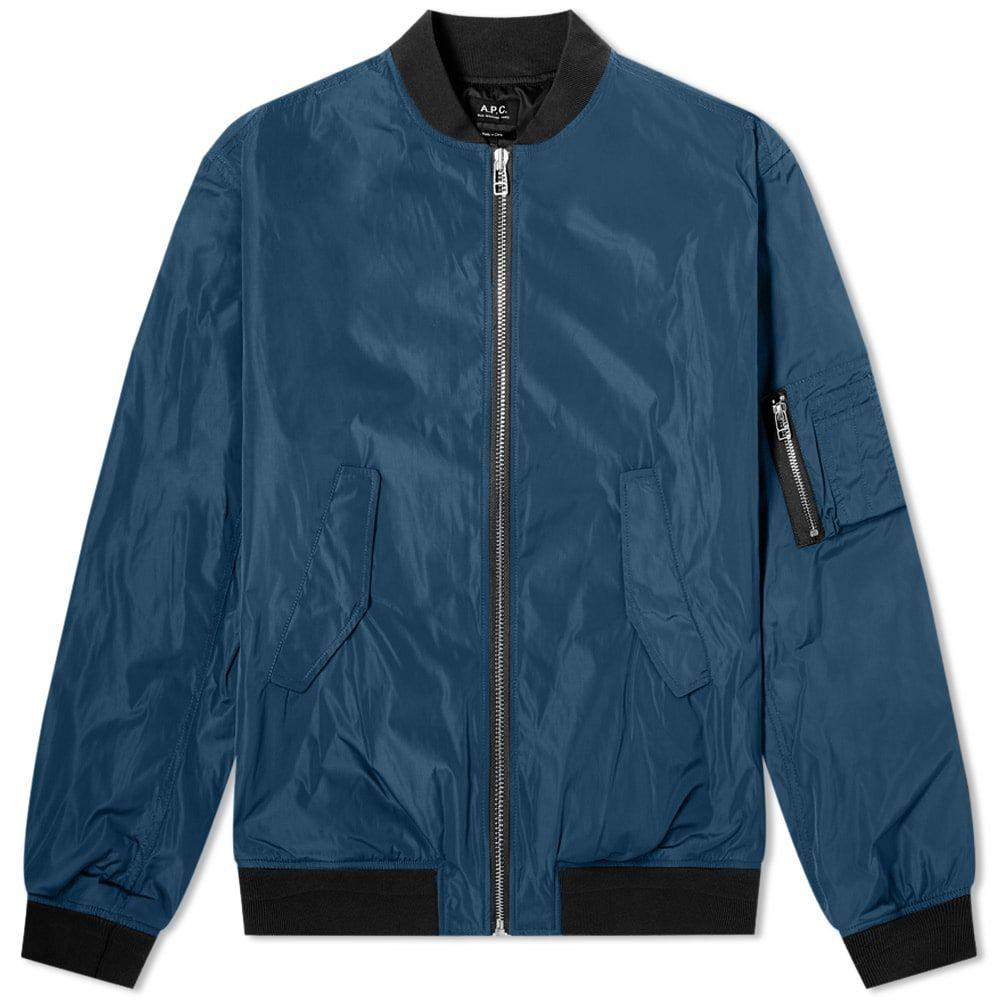 アーペーセー A.P.C. メンズ ブルゾン ミリタリージャケット アウター【Birmingham Nylon Bomber Jacket】Mid Blue