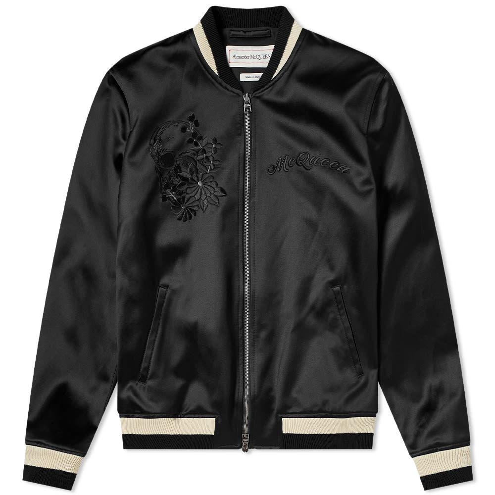 アレキサンダー マックイーン Alexander McQueen メンズ ブルゾン アウター【Satin Logo Varsity Jacket】Black
