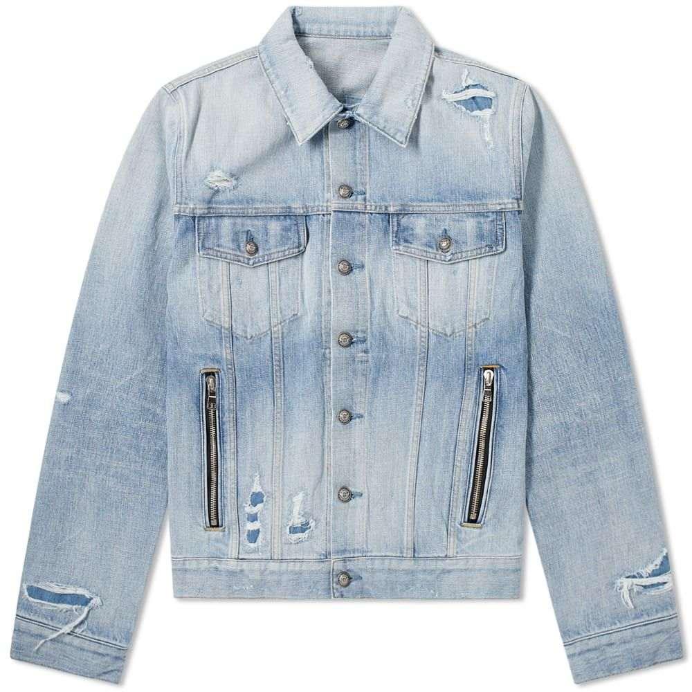 バルマン Balmain メンズ ジャケット Gジャン アウター【Back Print Denim Jacket】Blue