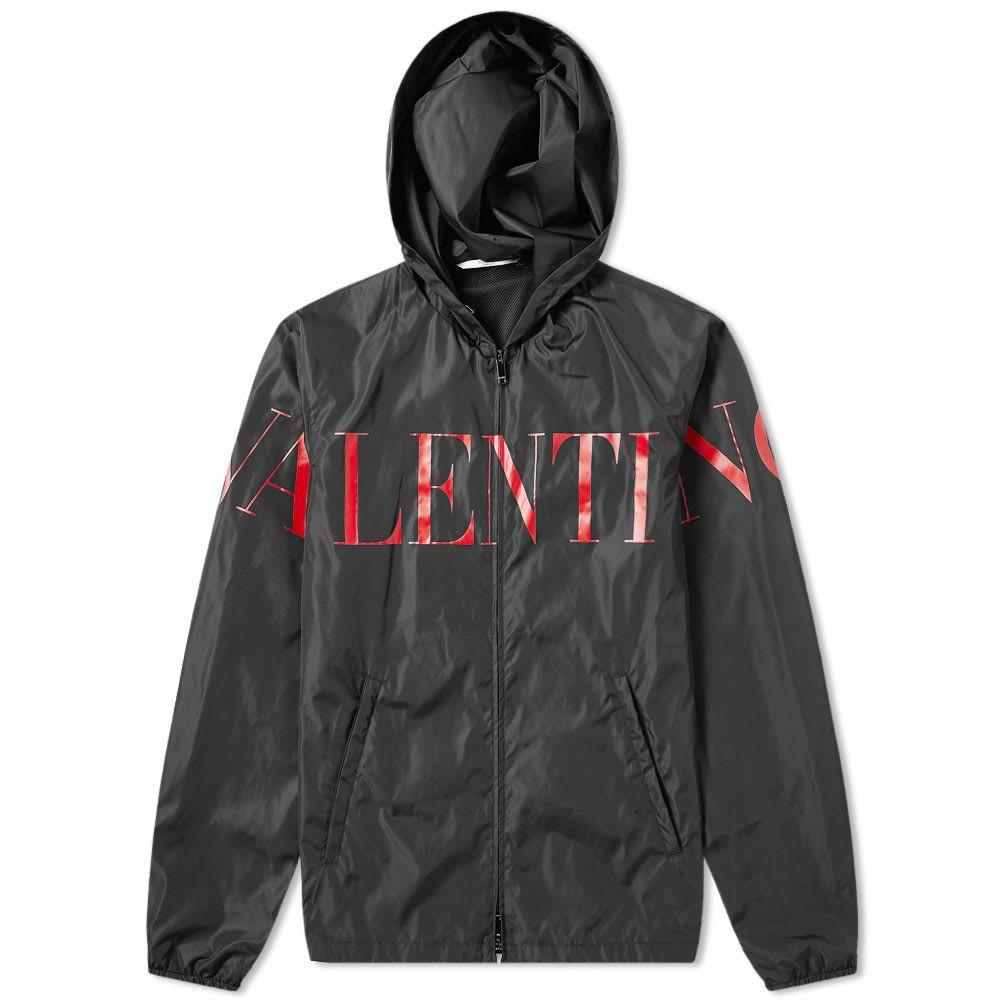 ヴァレンティノ Valentino メンズ ジャケット ウィンドブレーカー アウター【Logo Printed Windbreaker】Black/Red