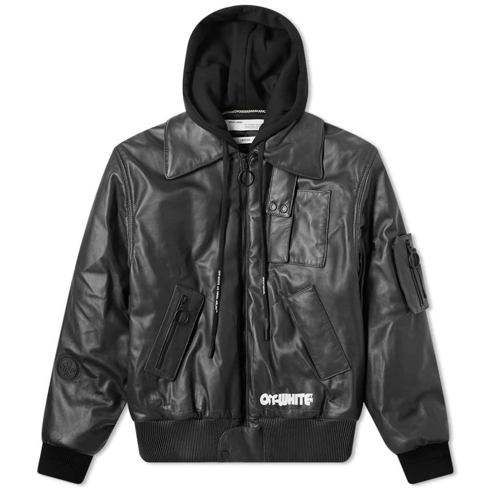 オフホワイト Off-White メンズ レザージャケット フード アウター【Skull Hooded Leather Jacket】Black