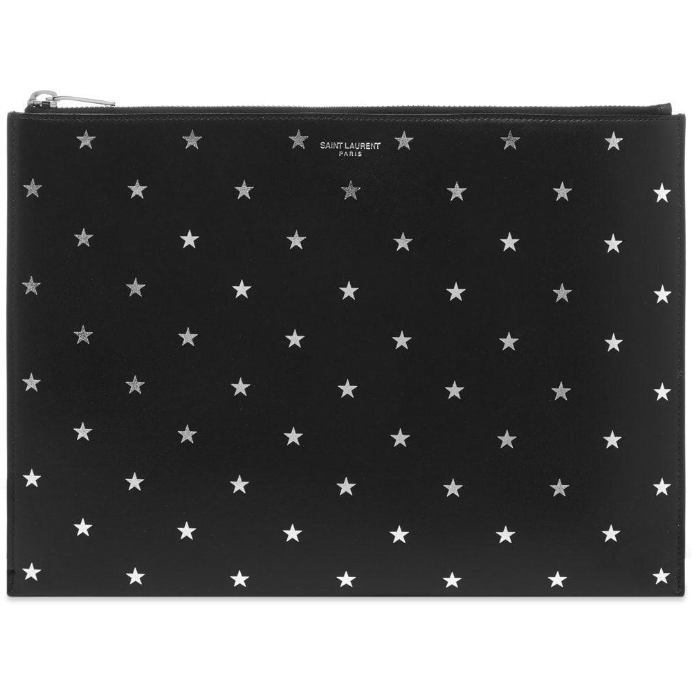 イヴ サンローラン Saint Laurent メンズ iPadケース 【Silver Star Tablet Holder】Black/Silver