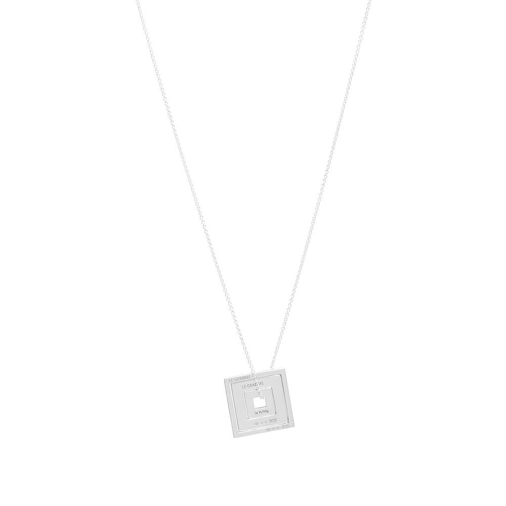 ルグラム Le Gramme メンズ ネックレス ジュエリー・アクセサリー【Square Accumulation Slick Pendant Necklace】Silver