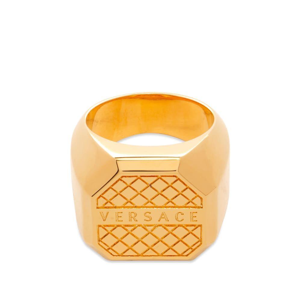 ヴェルサーチ Versace メンズ 指輪・リング ジュエリー・アクセサリー【Logo Ring】Gold