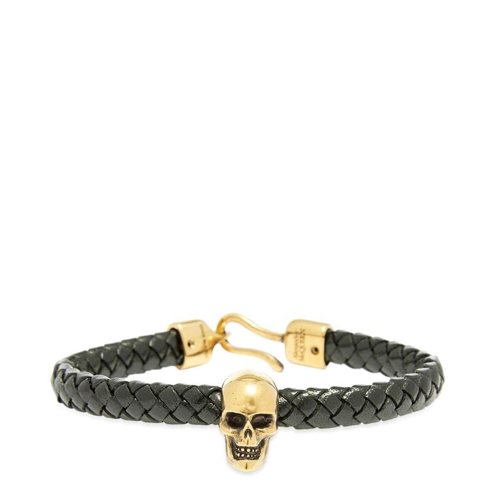 アレキサンダー マックイーン Alexander McQueen メンズ ブレスレット ジュエリー・アクセサリー【Leather Skull Bracelet】Black/Gold