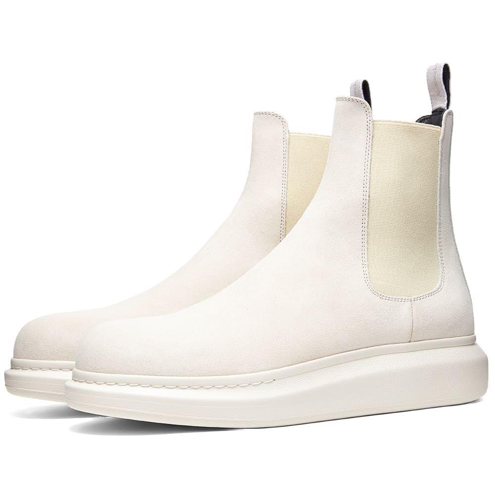 アレキサンダー マックイーン Alexander McQueen メンズ ブーツ チェルシーブーツ ウェッジソール シューズ・靴【Suede Chelsea Wedge Sole Boot】Ivory