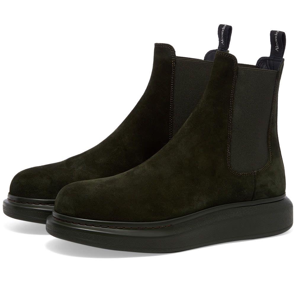アレキサンダー マックイーン Alexander McQueen メンズ ブーツ チェルシーブーツ ウェッジソール シューズ・靴【Suede Chelsea Wedge Sole Boot】Khaki