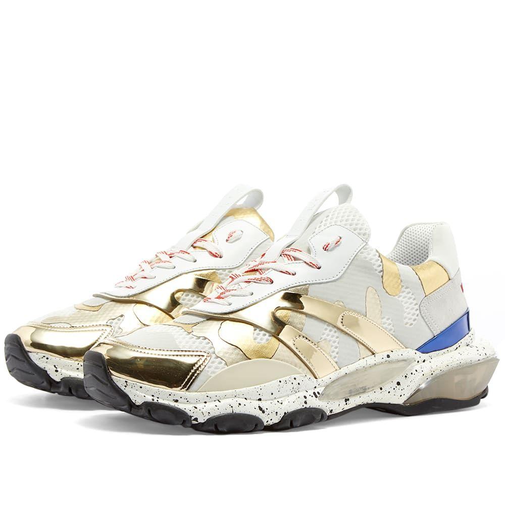 ヴァレンティノ Valentino メンズ スニーカー シューズ・靴【Metallic Camo Bounce Sneaker】Gold/Grey