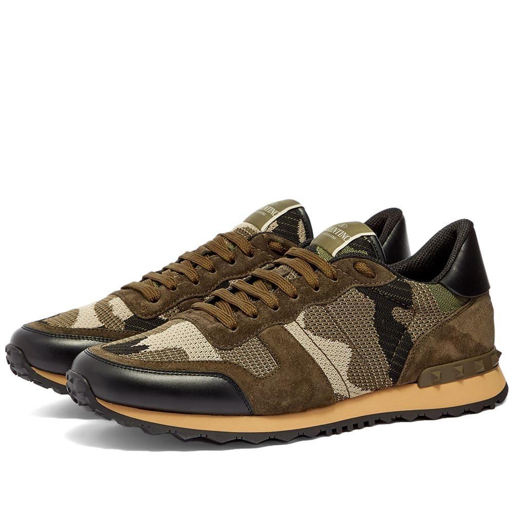 ヴァレンティノ Valentino メンズ スニーカー シューズ・靴【Knit Rockrunner Sneaker】Army
