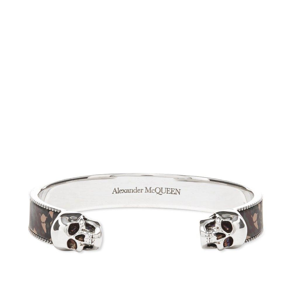 アレキサンダー マックイーン Alexander McQueen メンズ ブレスレット ジュエリー・アクセサリー【Twin Skull Camo Bracelet】Silver/Camo