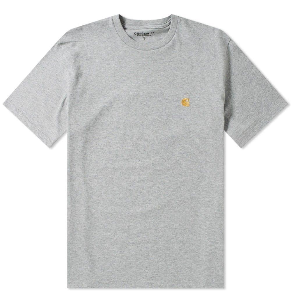 カーハート メンズ トップス Tシャツ Grey Heather 買い取り WIP 絶品 Gold Chase サイズ交換無料 Carhartt Tee