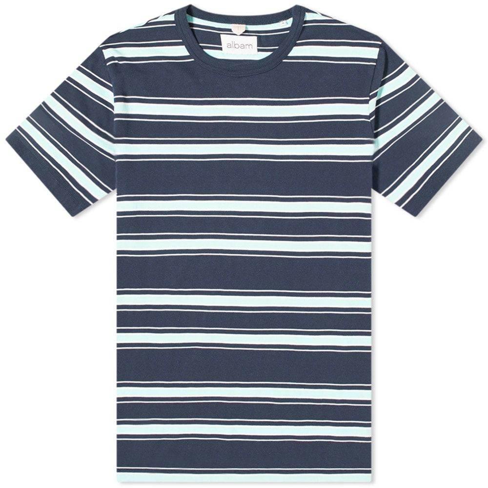 アルバム メンズ オリジナル トップス Tシャツ Navy Light Blue White 大注目 サイズ交換無料 Albam Stripe Heritage Tee