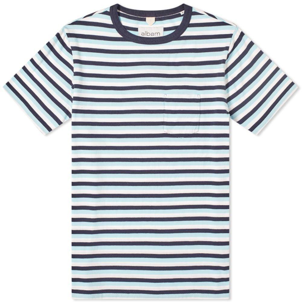 アルバム メンズ トップス Tシャツ Light Blue Navy Stripe 保証 Tee サイズ交換無料 格安激安 Albam Classic White