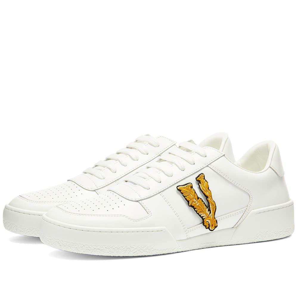 ヴェルサーチ Versace メンズ テニス スニーカー シューズ・靴【Applique Tennis Sneaker】White/Orange
