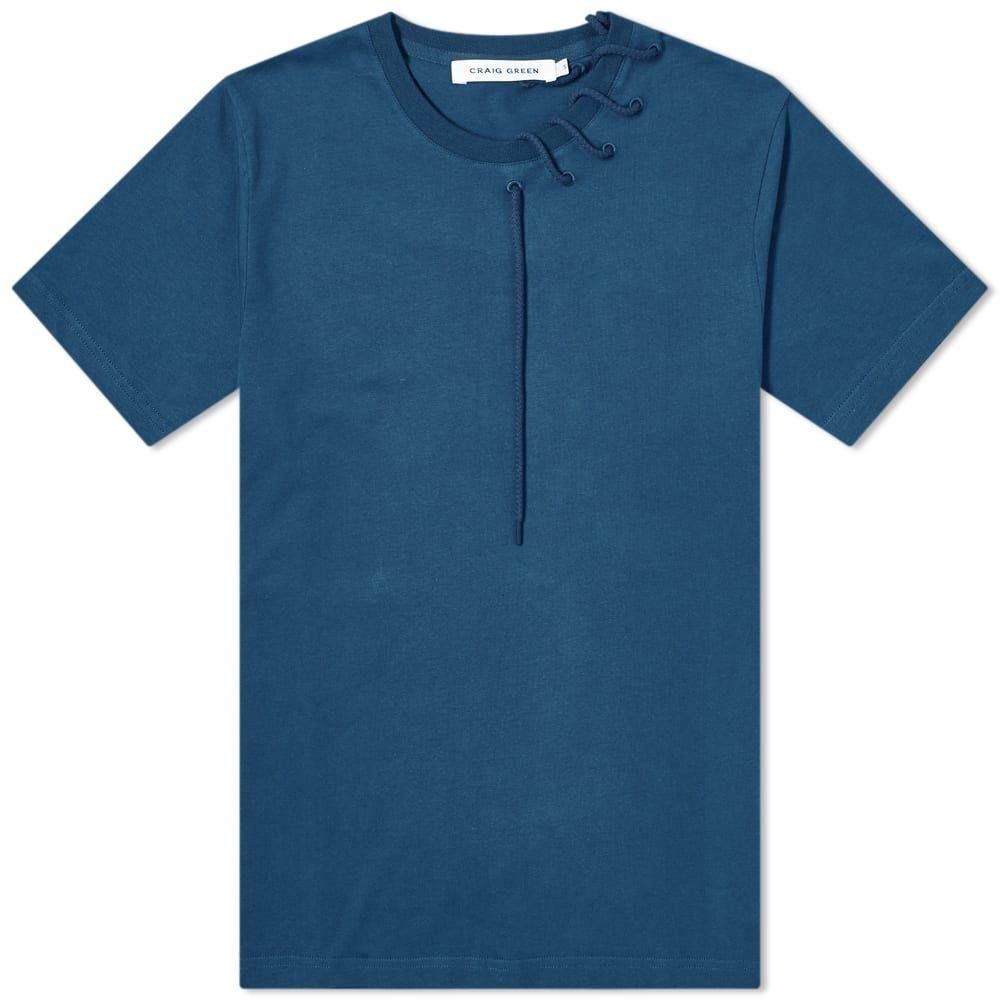 クレイググリーン Craig Green メンズ Tシャツ トップス【Laced Tee】Navy