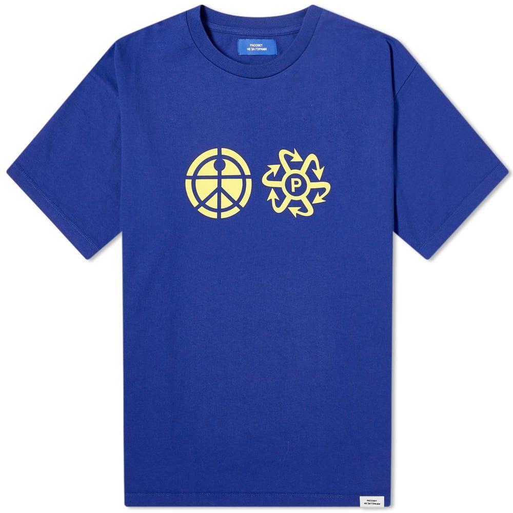 ラスベート メンズ トップス Tシャツ Navy サイズ交換無料 全国どこでも送料無料 即納最大半額 PACCBET ロゴTシャツ Tee Logo Print
