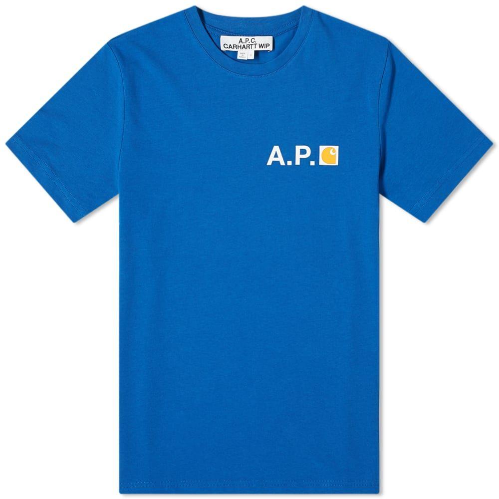 アーペーセー A.P.C. メンズ Tシャツ ロゴTシャツ トップス【x Carhartt WIP Fire Logo Tee】Royal Blue