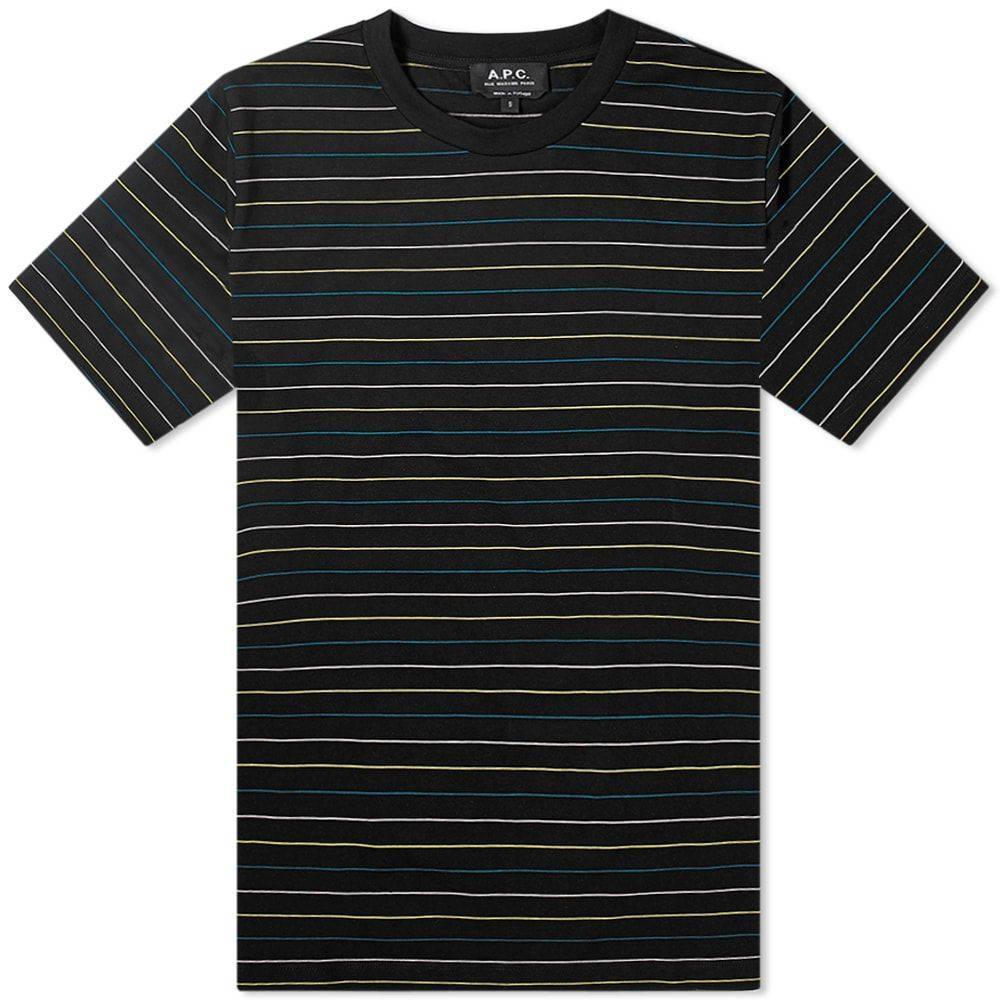 アーペーセー A.P.C. メンズ Tシャツ トップス【Milo Wide Stripe Tee】Black/Multi