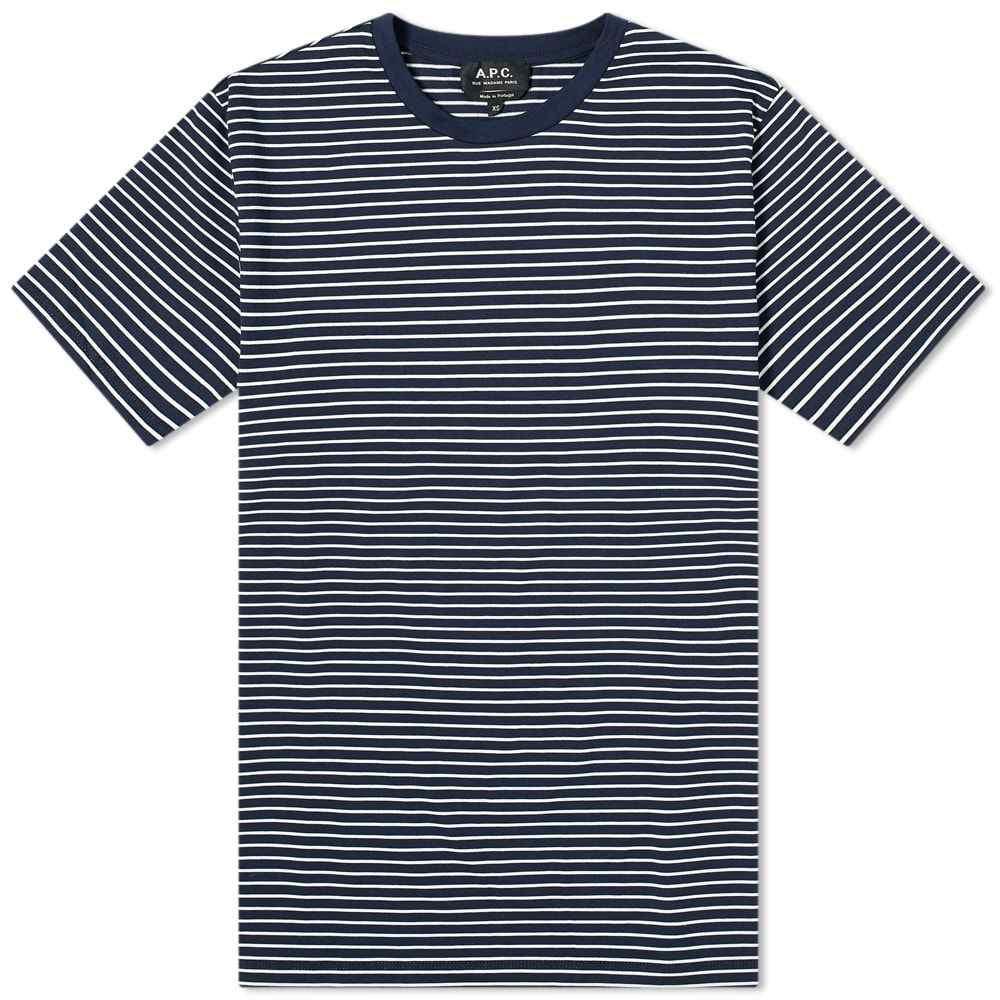 アーペーセー A.P.C. メンズ Tシャツ トップス【Orson Stripe Tee】Navy/White