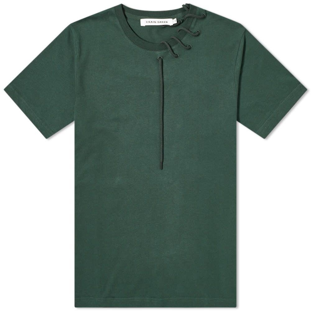 クレイググリーン Craig Green メンズ Tシャツ トップス【Laced Tee】Dark Green