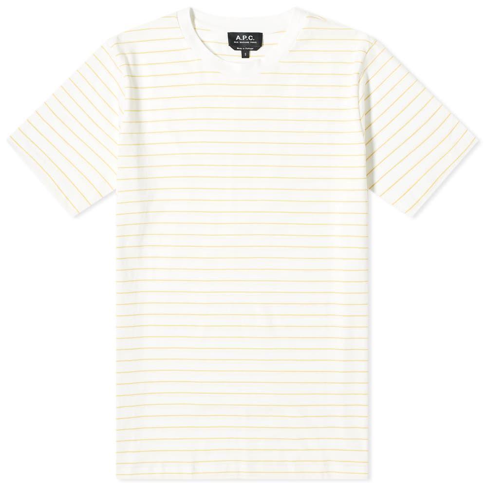 アーペーセー A.P.C. メンズ Tシャツ トップス【Milo Wide Stripe Tee】White/Yellow