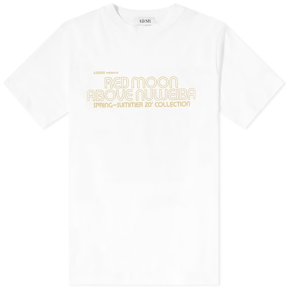 ADISH メンズ Tシャツ トップス【Red Moon Above Nuweiba Tee】White