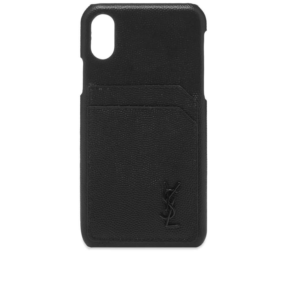 イヴ サンローラン Saint Laurent メンズ iPhone (X)ケース 【ysl metal logo iphone x case】Black/Black