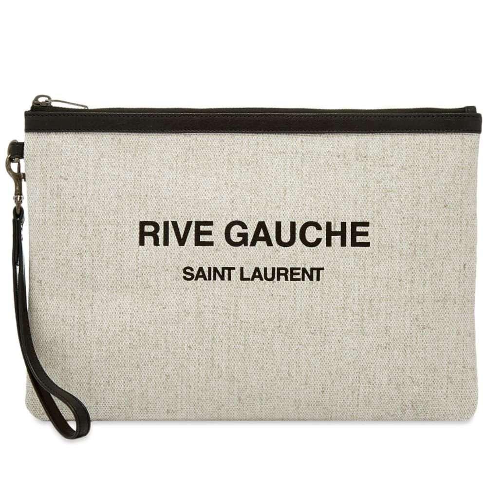 イヴ サンローラン Saint Laurent メンズ ポーチ 【ysl rive gauche pouch】Ecru/Black