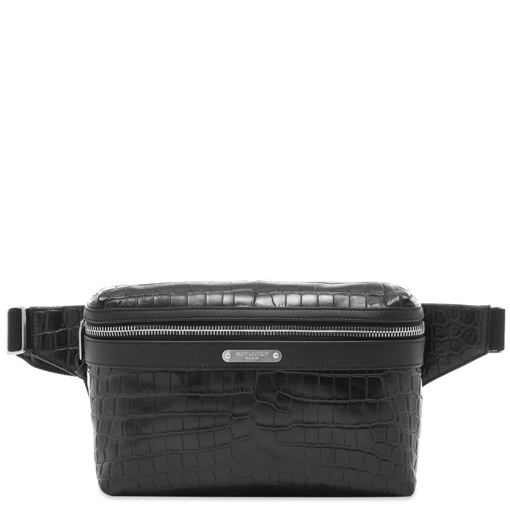 イヴ サンローラン Saint Laurent メンズ ボディバッグ・ウエストポーチ バッグ【embossed croc waist bag】Black