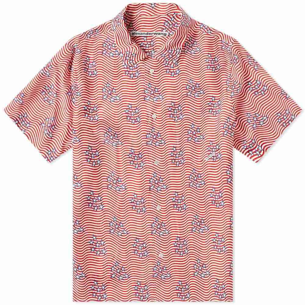 アレキサンダー ワン Alexander Wang メンズ 半袖シャツ トップス【flag print dragon shirt】Stars/Stripes