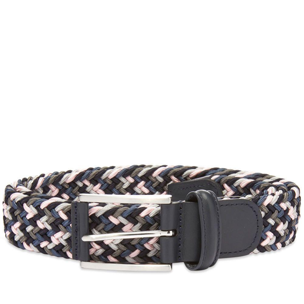 アンダーソンズ Andersons メンズ ベルト 【anderson's woven textile belt】Black/Grey/Pink