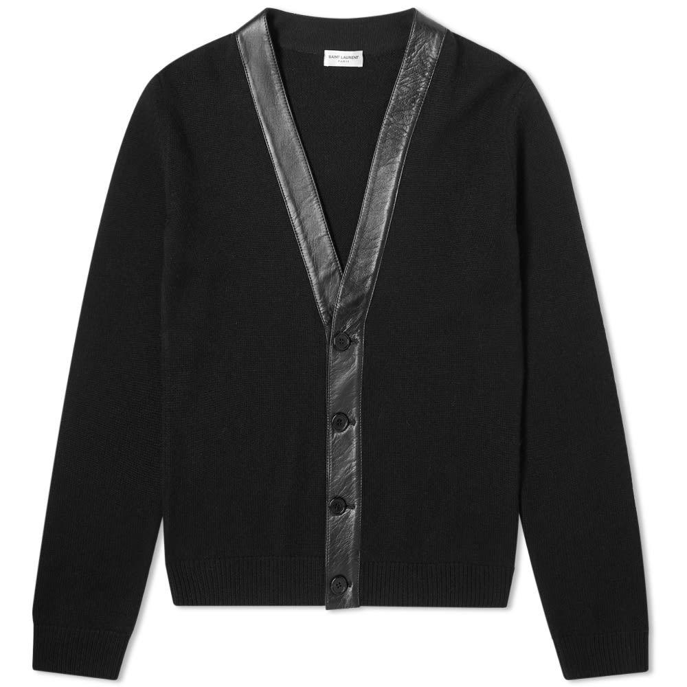 イヴ サンローラン Saint Laurent メンズ カーディガン トップス【cashmere leather detail cardigan】Black